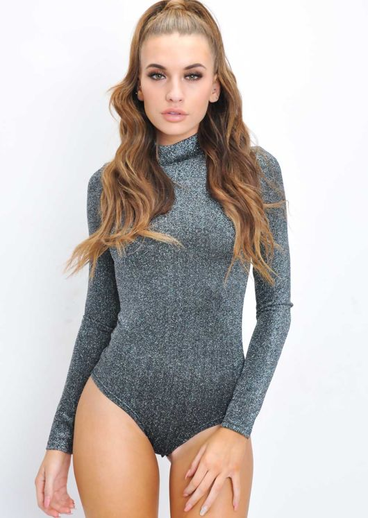 Glitter Lurex Stretch High Neck Bodysuit Silver