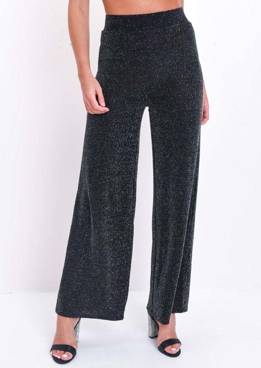 Glitter Lurex Wide Flare Leg Trousers Black