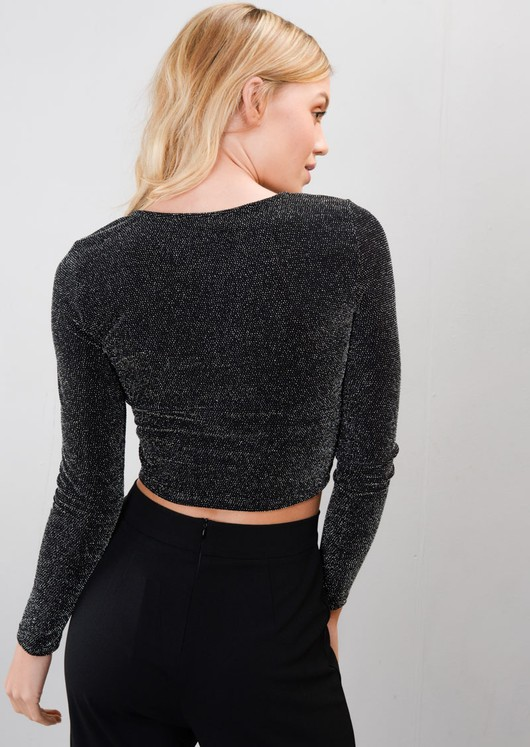 Glittery Long Sleeve Luxe Crop Top Black
