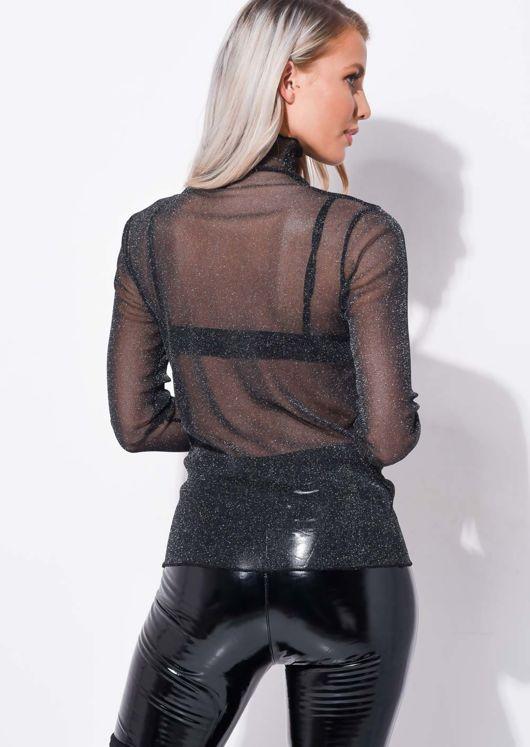 Glitter Mesh Long Sleeve Top Black