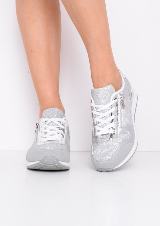 Glitter Metallic Lace Up Trainers Grey