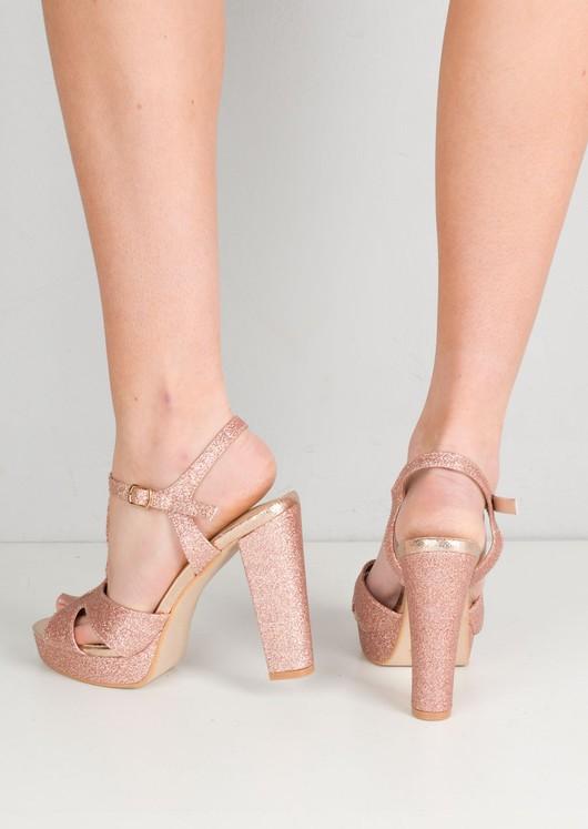 Glitter Peep Toe Platform Heeled Sandal Pink