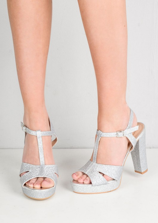 differently shop biggest discount Glitter Peep Toe Platform Heeled Sandals Silver