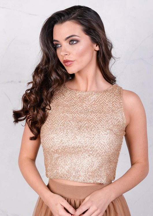 Glitter Party Crop Top Gold