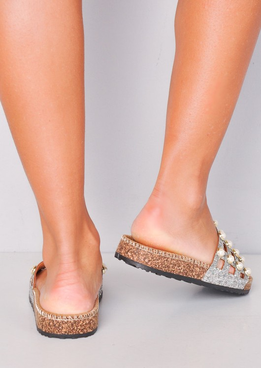 Glitter Pearl Studded Caged Sliders Silver