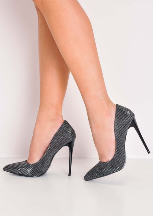 Glitter Pointed Toe Stiletto Heels Black