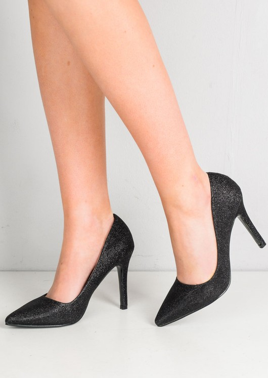 Glitter Pointed Toe Stiletto Court Heels Black