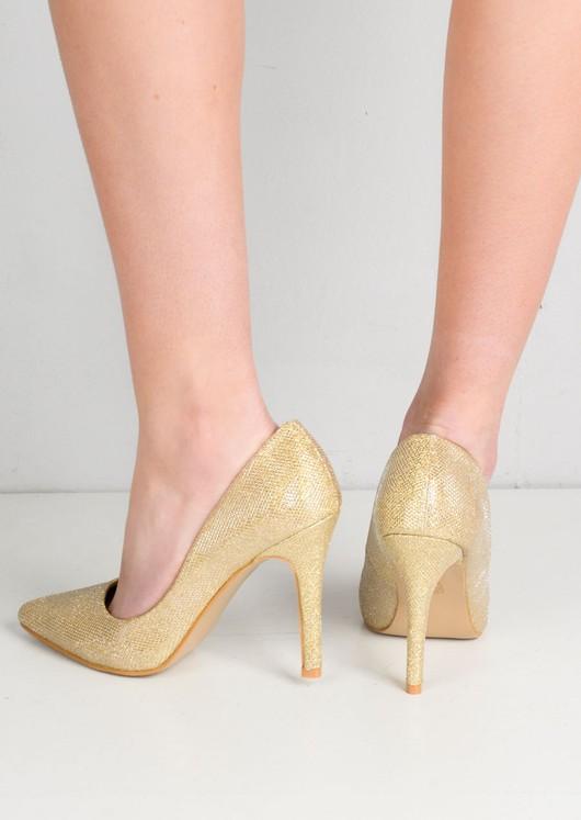 Glitter Pointed Toe Stiletto Court Heels Gold