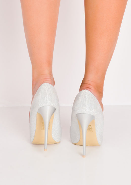 Glitter Pointed Toe Stiletto Heels Silver