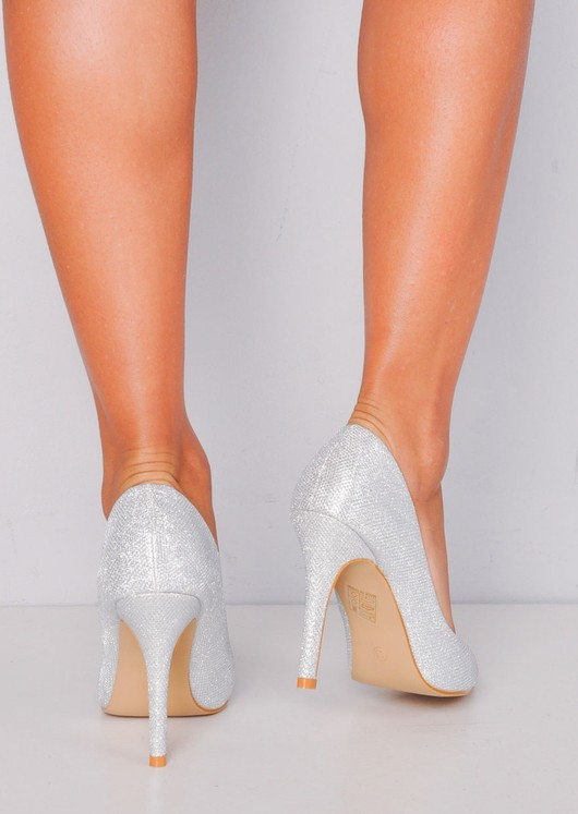 Glitter Pointed Toe Stiletto Court Heels Silver