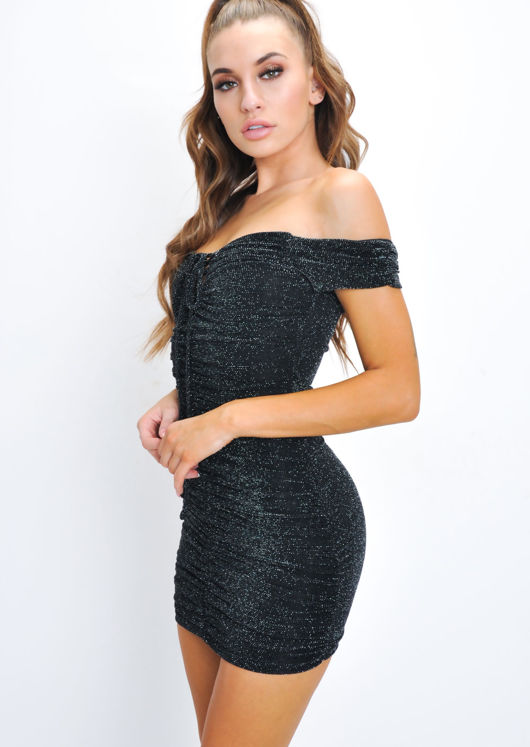 Glitter Ruched Bardot Bodycon Mini Dress Black