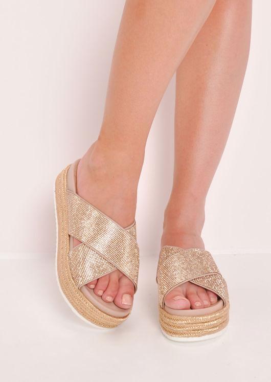 Glitter Studded Flatform Sliders Rose Gold