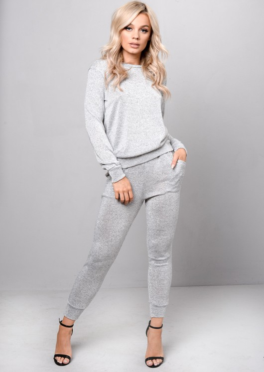 Glittery Loungewear Set Co Ord Silver