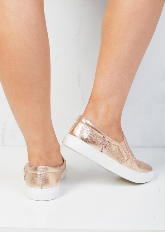 Glittery Star Slip On Plimsolls Shoes Metallic Rose Gold