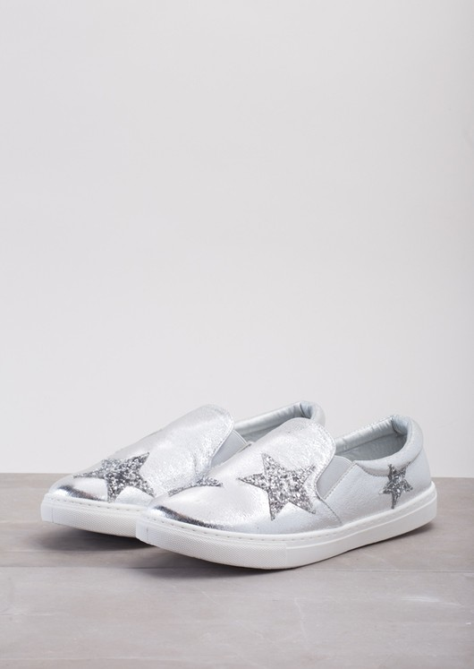 Glittery Star Slip On Plimsolls Metallic Silver
