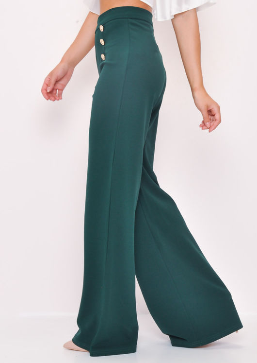 Gold Button Wide Leg Flared Trousers Green