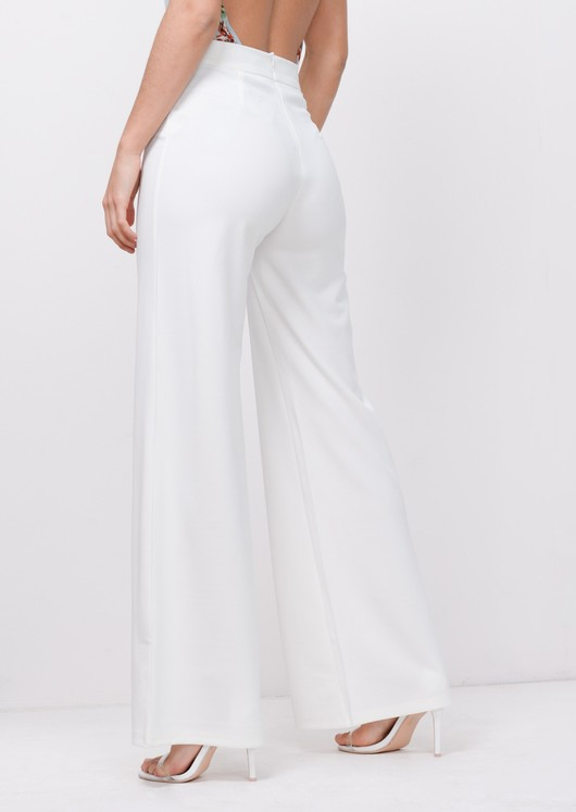 Gold Button Wide Leg Trousers White