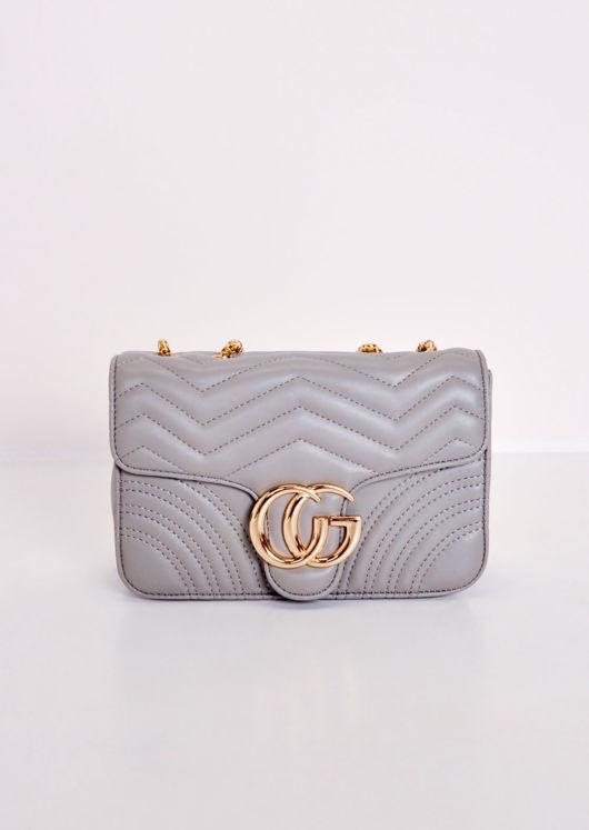 Gold Clasp Quilted Shoulder Bag Grey