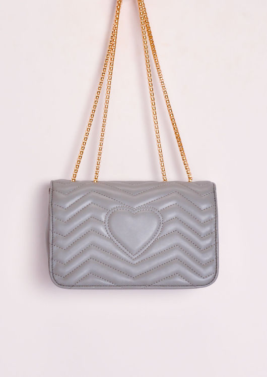 Gold Clasp Quilted Shoulder Bag Grey