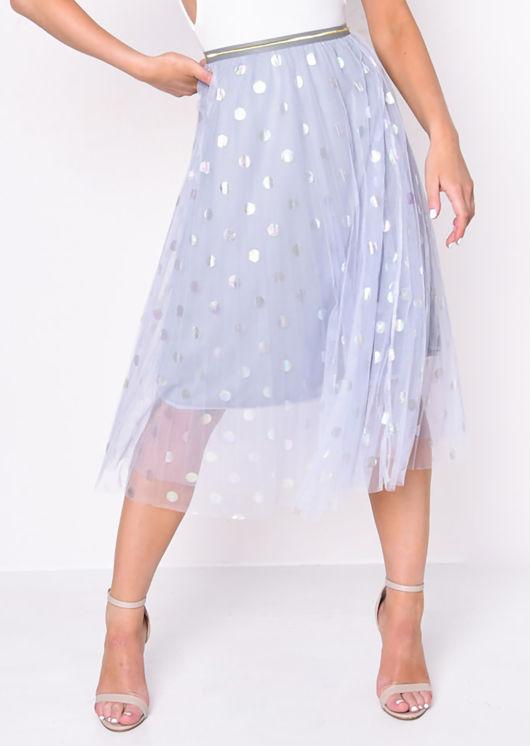 Gold Detail Polka Dot Tulle Mesh Midi Skirt Blue
