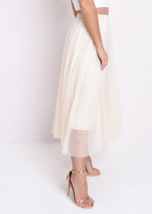 Gold Detail Tulle Mesh Midi Skirt Beige
