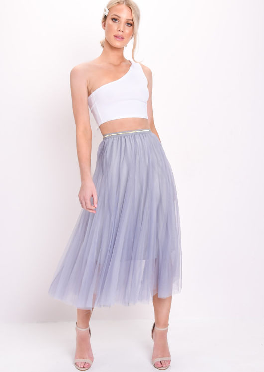Gold Detail Tulle Mesh Midi Skirt Blue