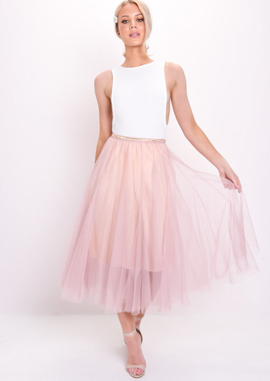 Gold Detail Tulle Mesh Midi Skirt Light Pink by Lily Lulu Fashion