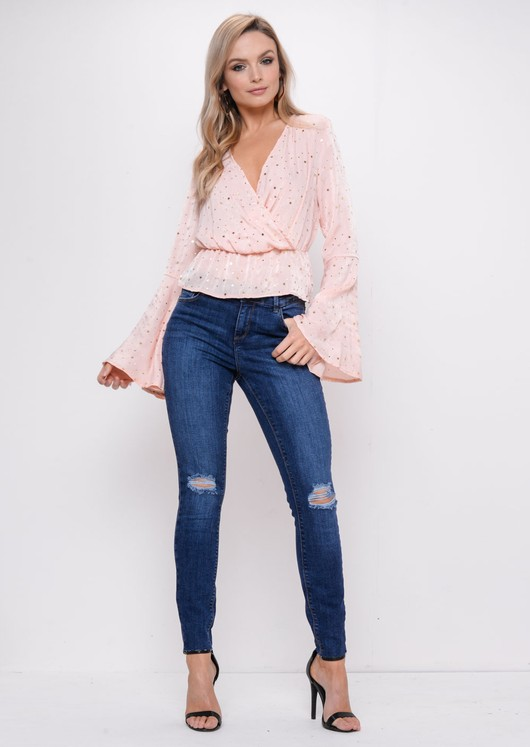 Gold Star Sequin Plunge Peplum Blouse Top Nude Pink