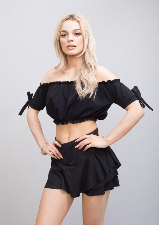 Gypsy Bardot Off The Shoulder Ruched Bow Crop Top Black