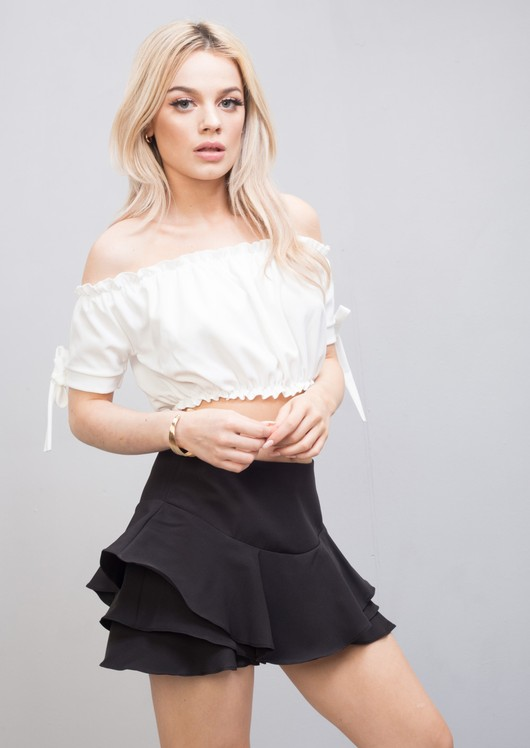 Gypsy Bardot Off The Shoulder Ruched Bow Crop Top White