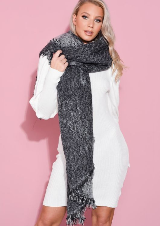 Super Soft Knitted Fringe Hem Scarf