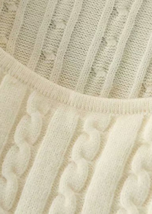 Half Zip Cable Knitted Key Hole Top Beige