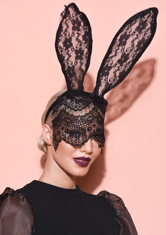 Halloween Bunny Ears With Veil Headband Black