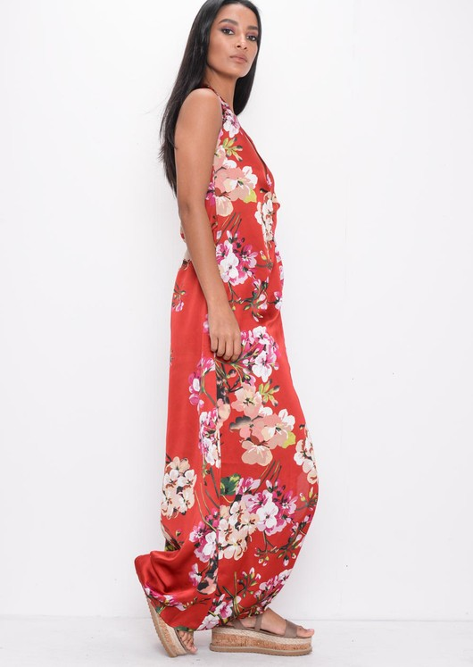 Halter Neck Floral Satin Split Front Maxi Dress Red