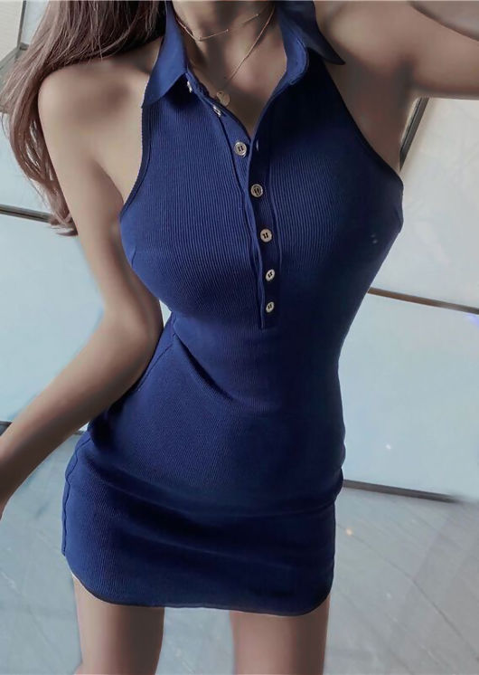 Halterneck Collar Ribbed Button Down Mini Dress Navy Blue