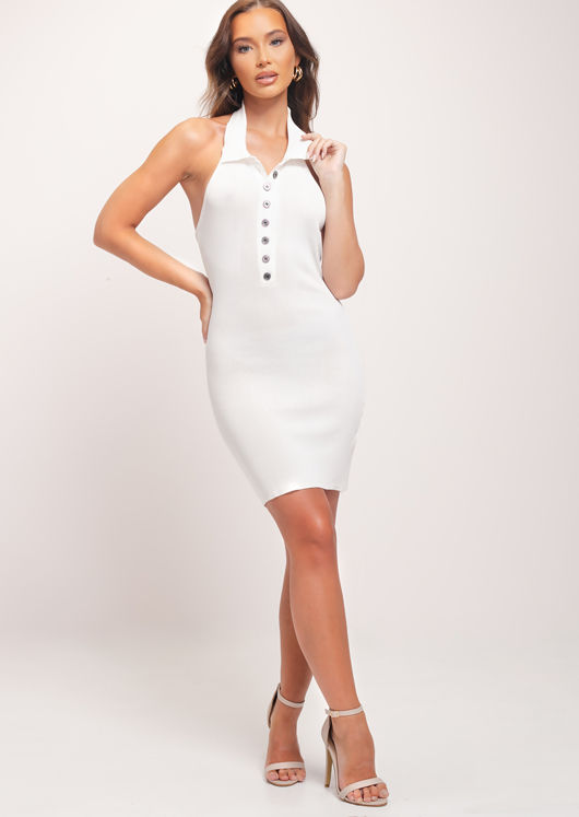 Halterneck Collar Ribbed Button Down Mini Dress White