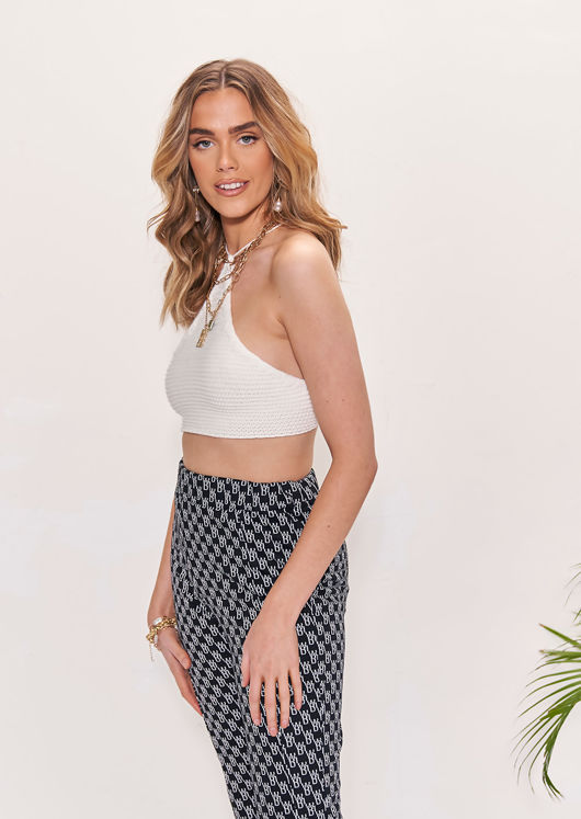 Knitted Halterneck Crocheted Back Tie Crop Top White