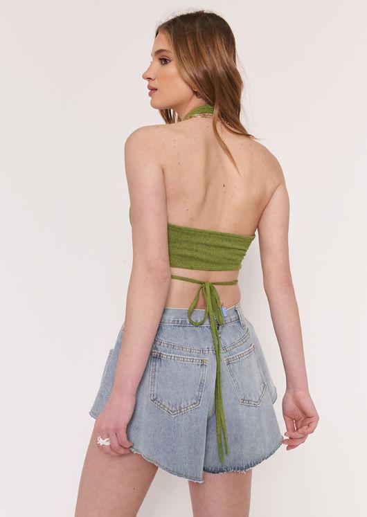 Multiway Halterneck Back Tie Sleeveless Crop Top Green