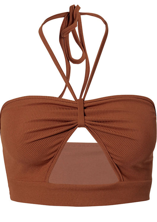 Halterneck Front Cut Out Ribbed Crop Top Brown
