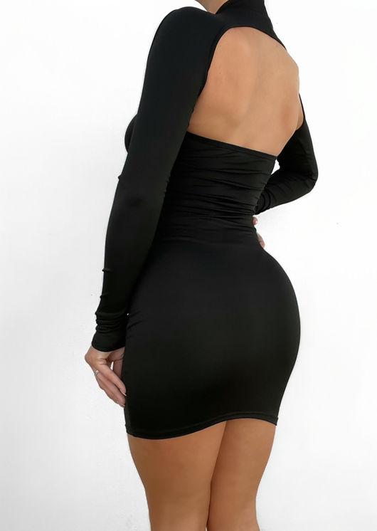 Halterneck Long Sleeved Cut Out Open Back Mini Dress Black