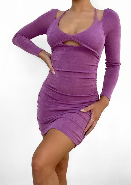 Halterneck Long Sleeve Back Tie Front Cut Out Mini Dress Purple