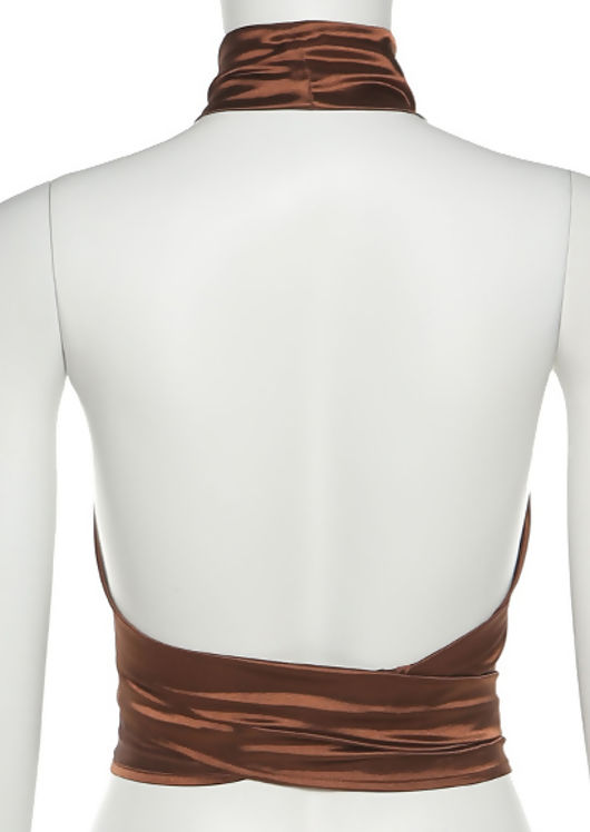 Halterneck Multiway Wrap Over Silk Crop Top Brown