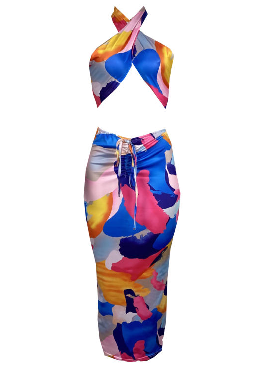 Halterneck Patterned Crop Top And Front Ruched Midi Skirt Co Ord Set Multi