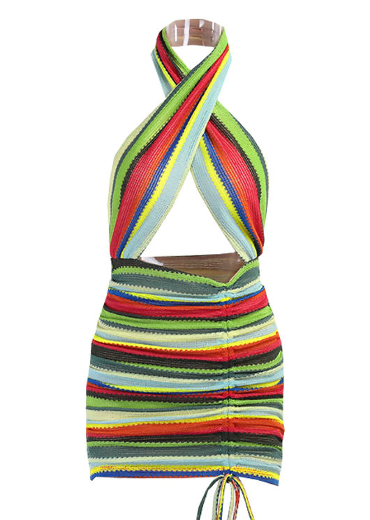 Halterneck Striped Stretch Knit Side Ruched Mini Dress Multi