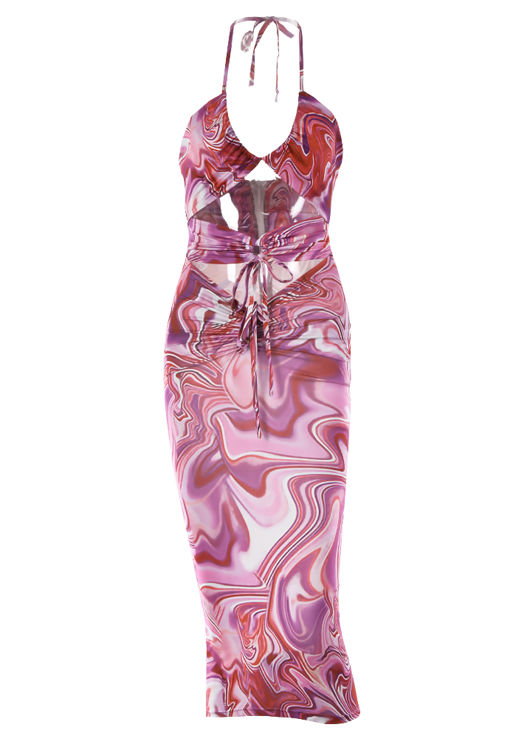 Halterneck Swirl Patterned Front Ruched Drawstring Cut Out Midi Dress Purple