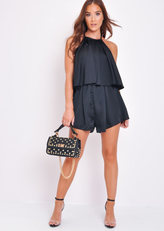 Halterneck Tiered Ruffle Playsuit Black