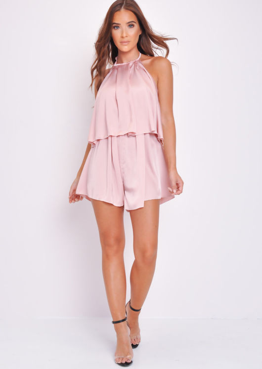 Halterneck Tiered Ruffle Playsuit Pink
