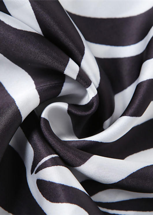 Halterneck Zebra Print Elasticated Back Tie Bandana Top Black