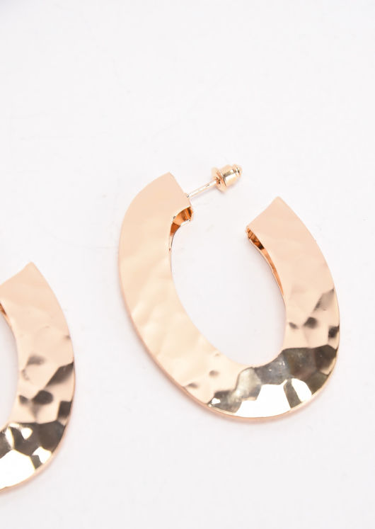 Hammered Small Hoop Earrings Gold
