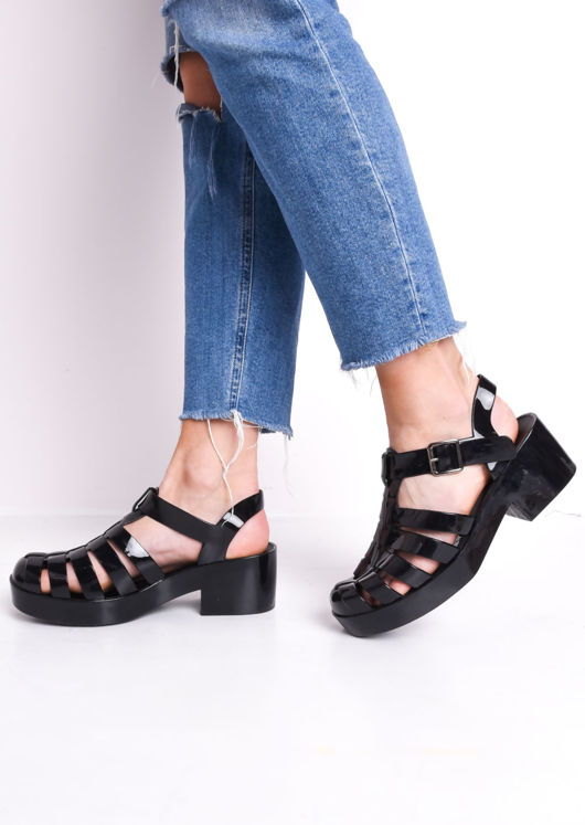 Cleated Block Heeled Jelly Sandals Black